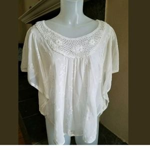 Maurices Medium Lace Boho neck embroidery Blouse